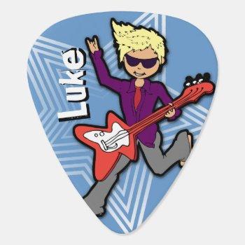 Boys Short Name Rockstar Blue Kids Id Guitar Pick by Mylittleeden at Zazzle