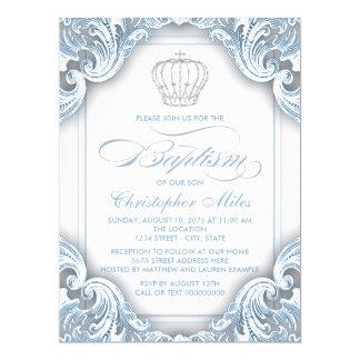 Boys Silver Blue Prince Baptism Card