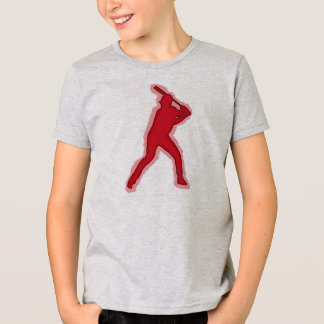 Boys simple red baseball player tee