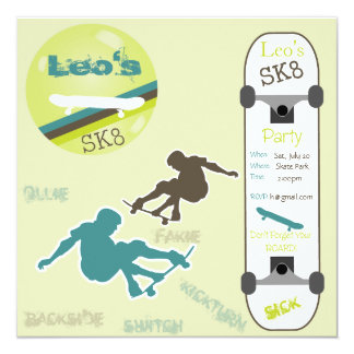 Boys Skateboard Party Invitation