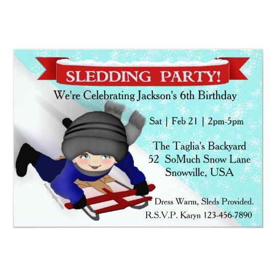 Boys Sledding Party Invitations Zazzlecom