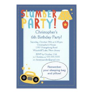 BOYS Sleepover Birthday Party Inviation 5x7 Paper Invitation Card