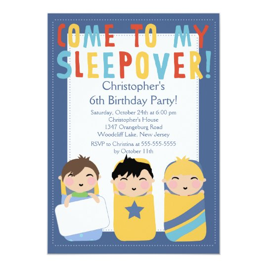 boys sleepover birthday party inviation invitation zazzle com