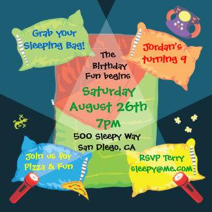 boys sleepover birthday party invitation
