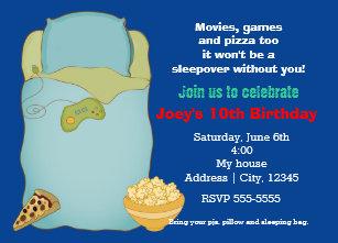boys sleepover slumber party birthday invitation