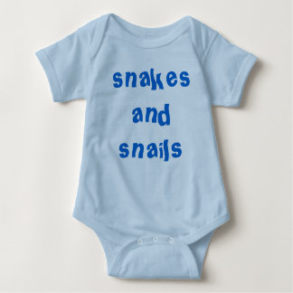 Boys snakes and snails in blue baby bodysuit