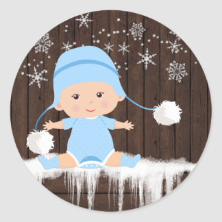 Boys Snowflake Baby Shower Stickers