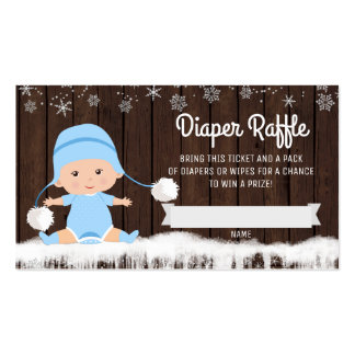 Boys Snowflake Diaper Raffle Tickets Business Card