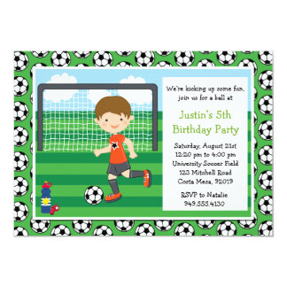 Boys Soccer Birthday Party Invitation