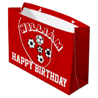 Boys soccer football red PERSONALIZE Large Gift Bag