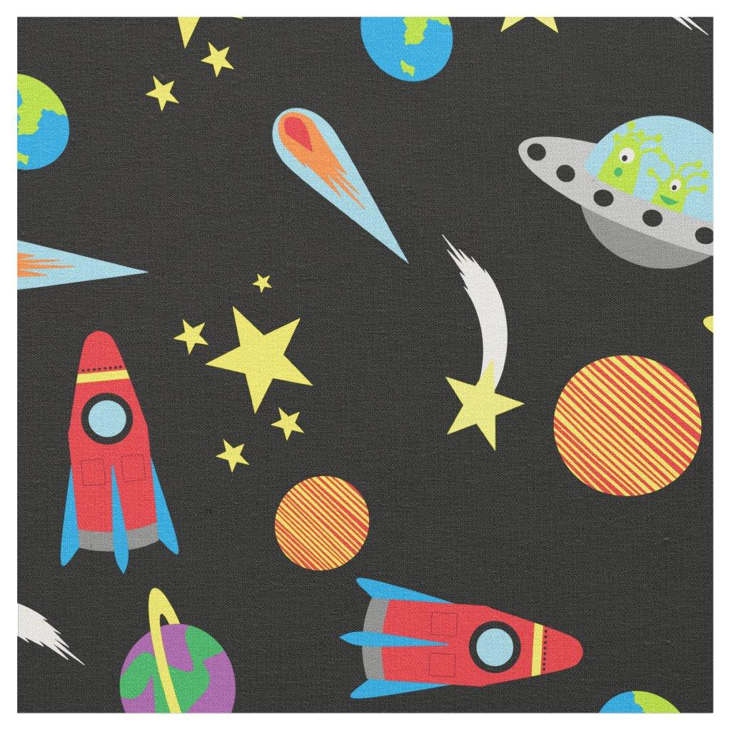 Boys Space Pattern Stars Planets Rockets Aliens Fabric
