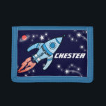 """Boys space rocket blue add your name wallet<br><div class=""""desc"""">Encourage saving with this kids boys outer space rocket wallet,  personalise with your name. Currently reads Chester. Uniquely designed by Sarah Trett.</div>"""