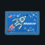 """Boys space rocket blue add your name wallet<br><div class=""""desc"""">Encourage saving with this kids boys outer space rocket wallet,  personalise with your name. Currently reads Bradley. Uniquely designed by Sarah Trett.</div>"""