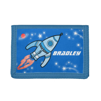 Boys space rocket blue add your name wallet