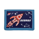 Boys space rocket blue red add your name wallet