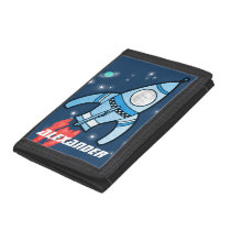 Boys space rocket blue your name and photo wallet