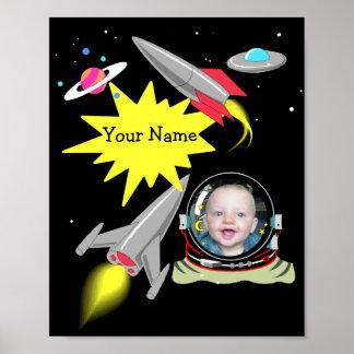 Boy's Space Rocket Photo Frame  Poster Print Decor