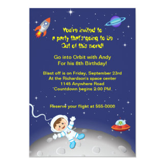 Boys Space Theme Birthday 5x7 Paper Invitation Card