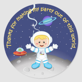 Boys Space Theme Birthday Thank You Classic Round Sticker