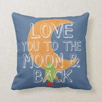 Boys Space Theme I Love You to the Moon and Back Throw Pillow