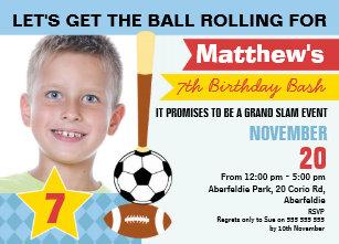 Boys Sports Birthday Invitation