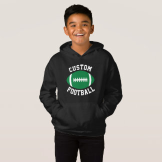 Boy's Sports Team Name/Text Green Football Player Hoodie