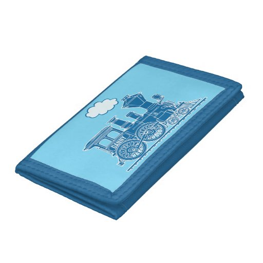 Boys steam train engine your name blue wallet