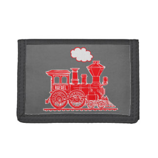 Boys steam train engine your name wallet