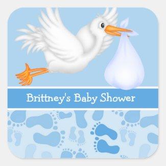 Boy's Stork Baby Shower Stickers