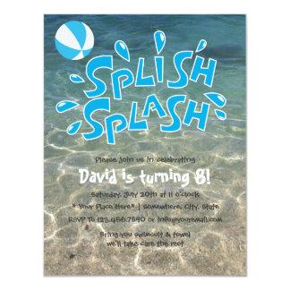 "Boys Summer Splash Pool Party Birthday 4.25"" X 5.5"" Invitation Card"