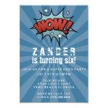 "Boys Super Hero Comic Birthday Party Invitation 3.5"" X 5"" Invitation Card"