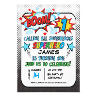 Boys Superhero 1st Birthday Invitation