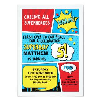 Boys Superhero 5th Birthday Invitation