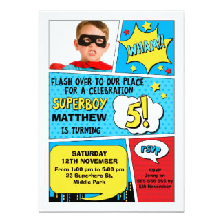 Boys Superhero Photo 5th Birthday Invitation