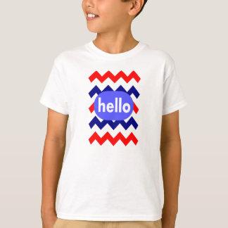 boy's t-shirt chevron pattern red white blue hello
