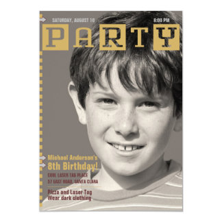 Boys Tech Magazine Photo Birthday Party Card