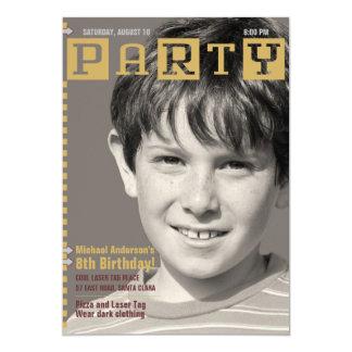 Boys Tech Magazine Photo Birthday Party Card