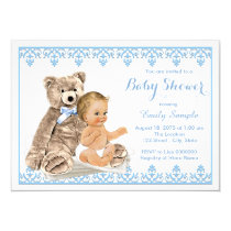 Boys Teddy Bear Baby Shower Card