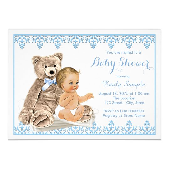 Boys Teddy Bear Baby Shower Invitation Zazzle