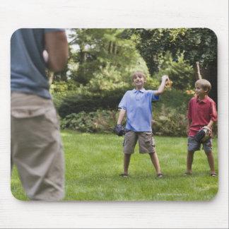 Boys throwing baseball mouse pad