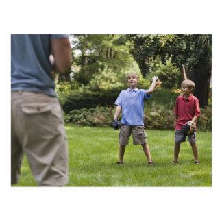 Boys throwing baseball postcard