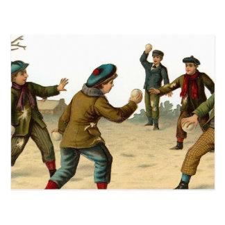 """Boys Throwing Snowballs"" Vintage Christmas Postcard"