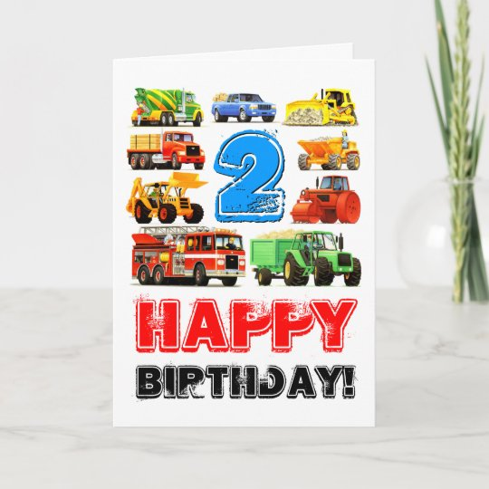 Boys Toy Truck Happy 2nd Birthday Card