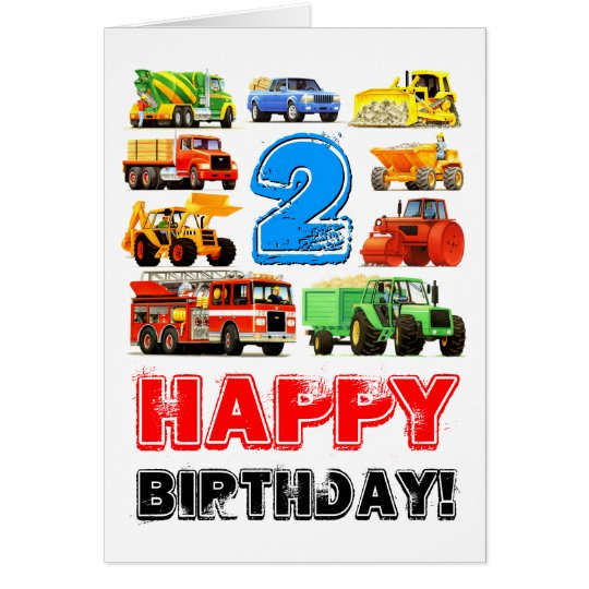 Boys Toy Truck Happy 2nd Birthday Card – Happy 2nd Birthday Card