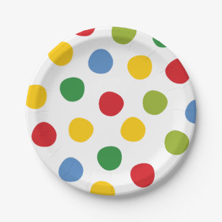 Boys Toys Birthday Primary Polka Dots Paper Plates