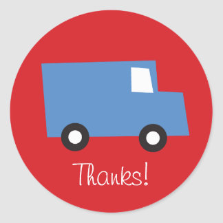 Boys Toys Blue Truck Birthday Thank You Sticker