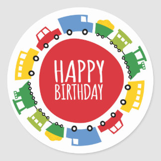 Boys Toys Car Trains Happy Birthday Party Stickers
