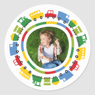 Boys Toys Cars Bus Trains Birthday Photo Stickers