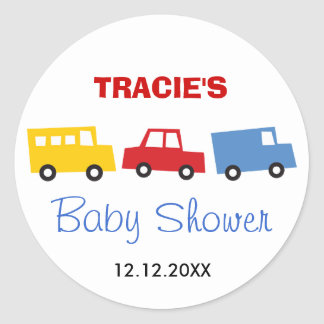 Boys Toys Colorful Transport Baby Shower Sticker