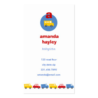 Boys' Toys Fun Babysitter Calling / Profile Card / Business Cards
